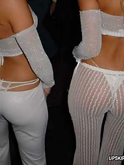 White panties clearly seen through babe's sheer trousers