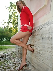 Luxurious babe?s upskirt short under red dress