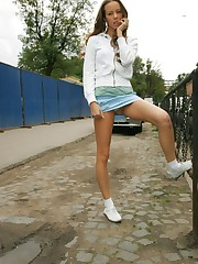 Watch cute chick in jeans skirt with white panties peeping