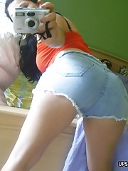 Bubble butts of sweet girl look tasty in tiny shorts