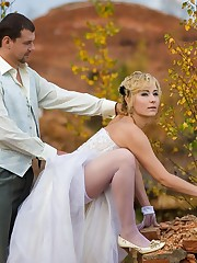Gelery of Lovely Bride In White With Stockings Over Pantyhose