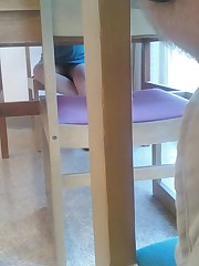 Viewing up skirts under table - sneaky peek at her panty