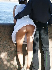 Man trying to spy upskirt closeups