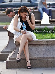 Upskirt lover hunting girl in park