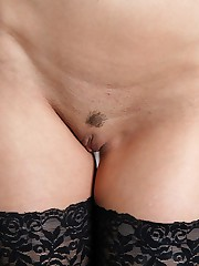 Cute shaved beaver of nyloned babe