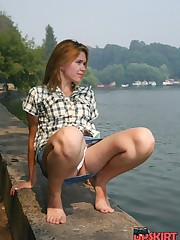 Public voyer up jeans skirt upskirt photo