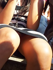 Close ups of white and black upskirt upskirt shot