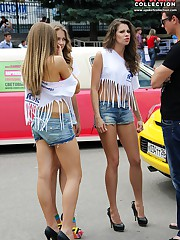 Girls play with their jeans shorts candid upskirt