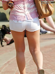 Girls play with their jeans shorts up skirt pic