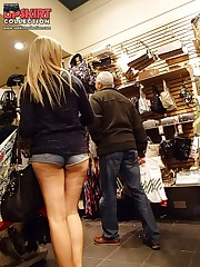 Jeans shorts back view spied on cam up skirt pic